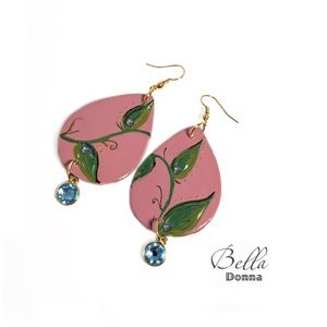 Rouge Pink Teardrop Ceramic Earrings